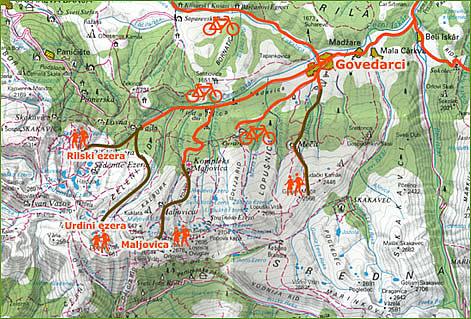 Мальовишка Рила - карта на някои маршрути